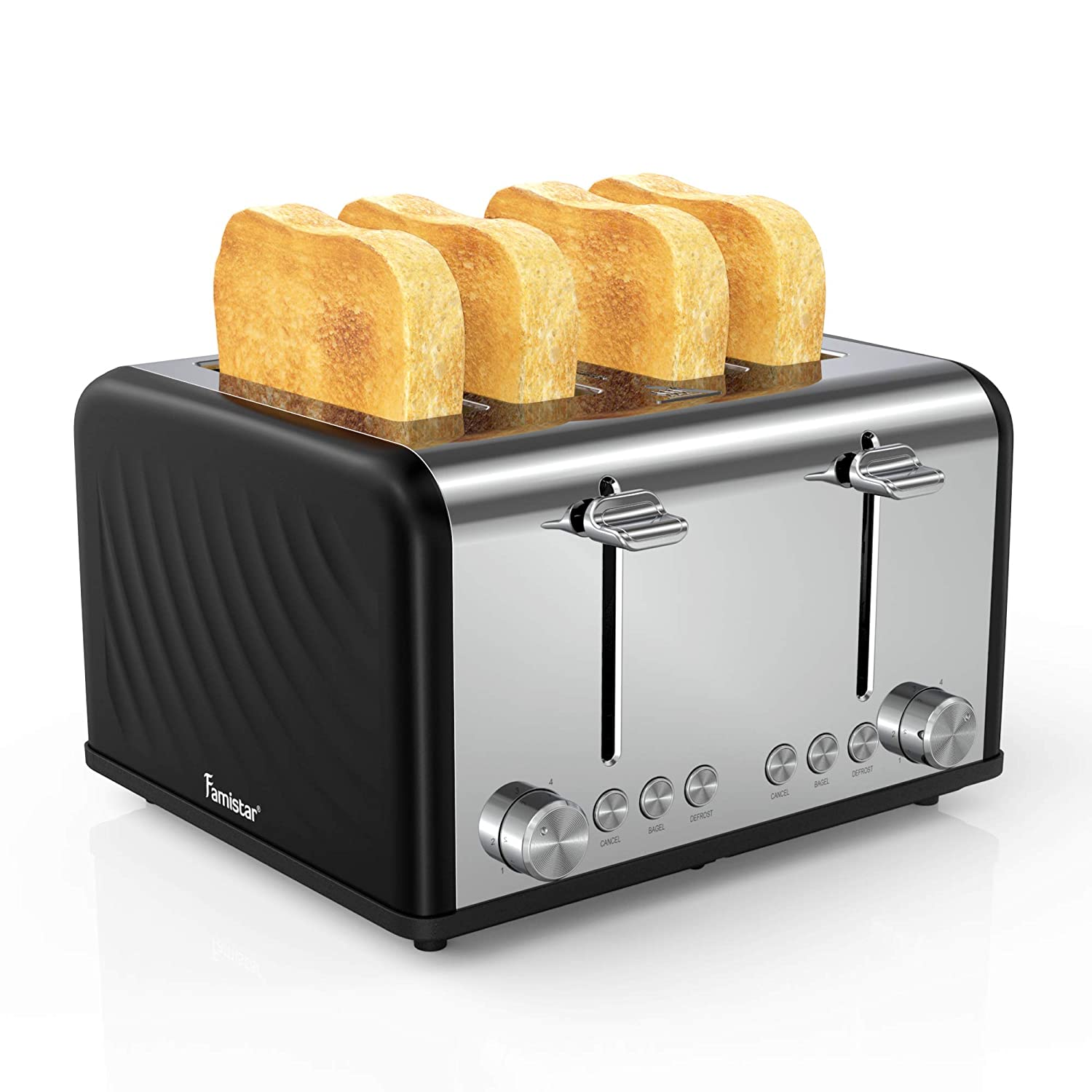 Toaster 4 Slice, Famistar Stainless Steel 1650W Toaster, Extra Wide Slots Four Slice 6 Bread Shade Settings Bread Bagel Toaster with Bagel, Cancel, Defrost Function