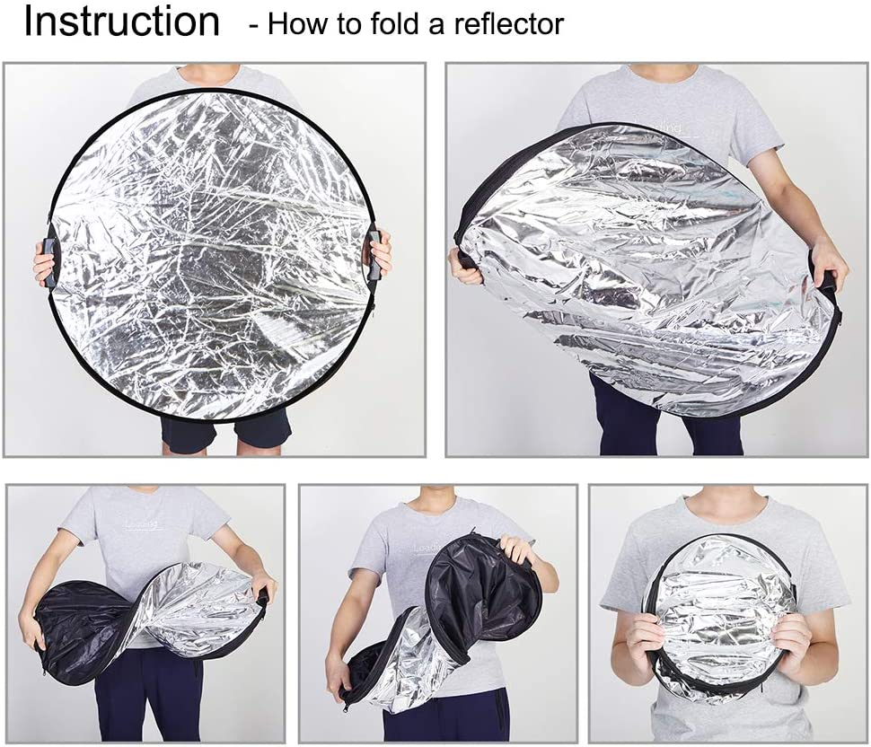 Selens Portable 5-in-1 24 Inch Handle Round Reflector Collapsible Multi Disc with Carrying Case for Photography Photo Studio Lighting /& Outdoor Lighting 60cm