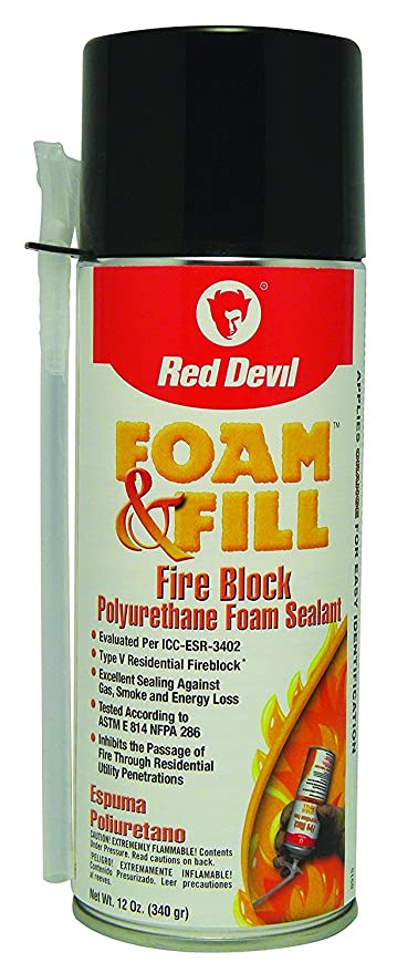 Amazon.com: Red Devil 091512 Foam & Fill Fire Block Expanding Polyurethane Foam Sealant 12-Ounce Orange, Case: Home Improvement