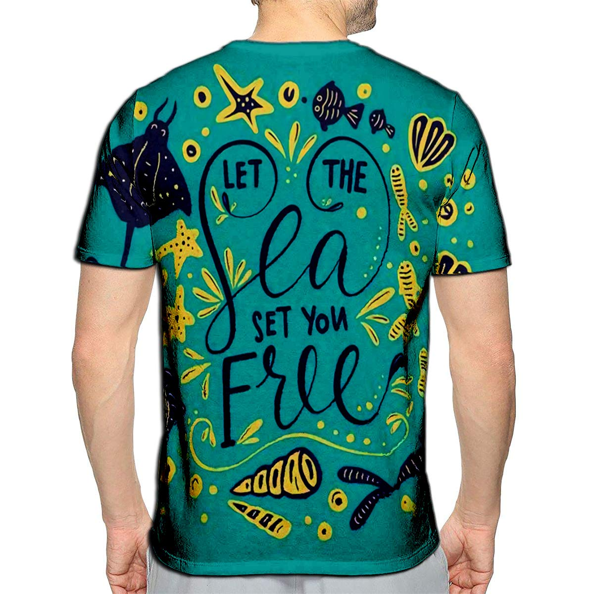 3D Printed T-Shirts Let The Sea Set You Free Calligraphy with Ocean Elements On
