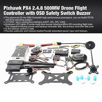 Laurelmartina Pixhawk PX4 PIX 2.4.8 500 MW Controlador de Vuelo con telemetría + M8N GPS + Mini OSD + PM + Interruptor de Seguridad + zumbador + PPM + I2C ...
