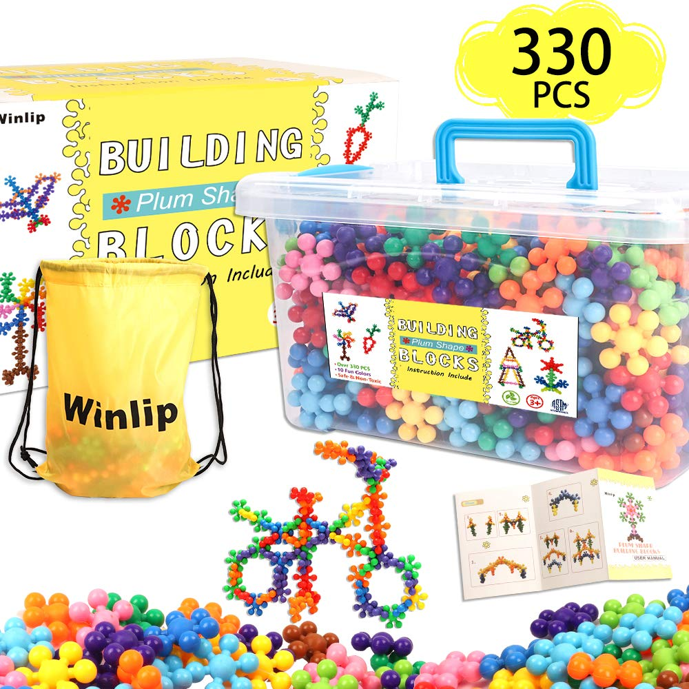 330 pcs Building Blocks, Educational Building Toys Stem Toys Building Discs Sets Interlocking Solid Plastic for Preschool Toddlers Girls and Boys by Winlip