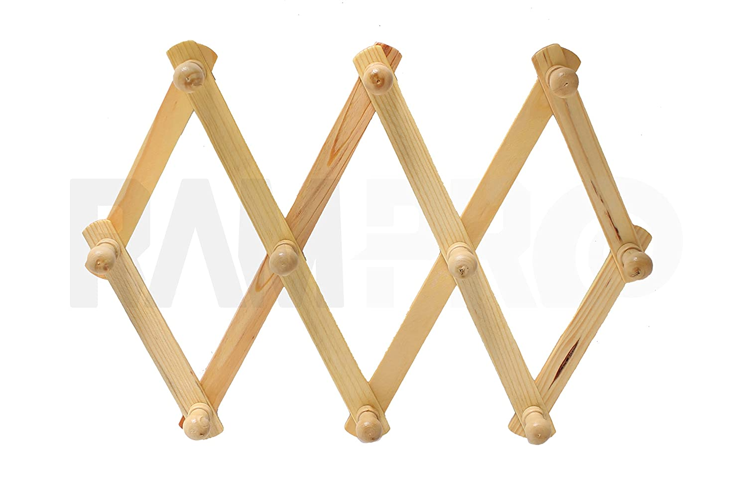 Set of 3 RAM-Pro Accordion Style Wood Expandable Wall Rack for Hat, Cap, Belt, Umbrella Coffee Mug Jewelry Hanging Wooden Pegs Mix N More Inc. 2064