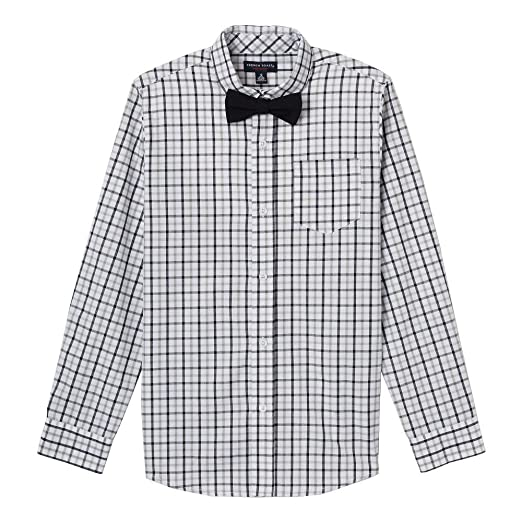 c2742b346 French Toast Boys' Toddler Long Sleeve Dress Shirt with Bow Tie, Flint Gray,
