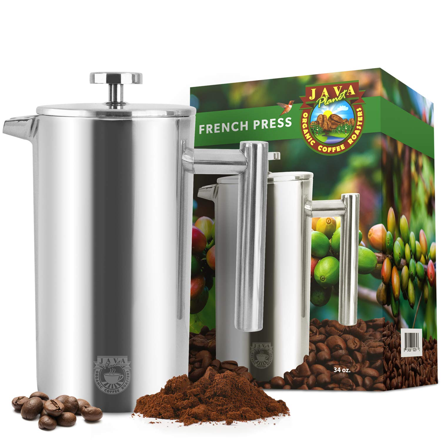 Java Planet French Press Coffee Maker – Stainless Steel – Insulated – 34oz