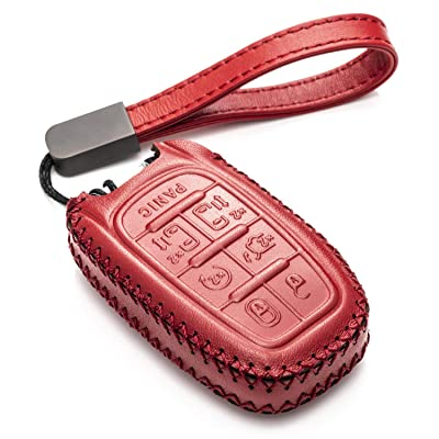 Vitodeco Genuine Leather Smart Key Fob Case Cover Protector with Leather Key Chain for 2020-2020 Chrysler Pacifica (7-Button, Red): Automotive
