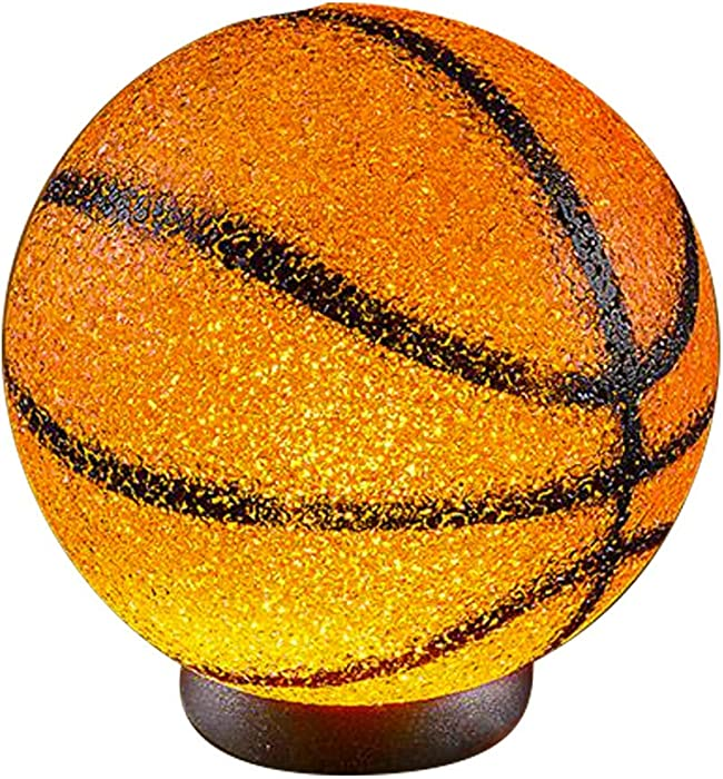 Kicko Sparkle Basketball Lamp - 9 Inch Basketball Ball Shaped Lamp with Sturdy Plastic Base for Kid Bedrooms, Themed-Parties, Room Decoration, Housewarming , House Decoration