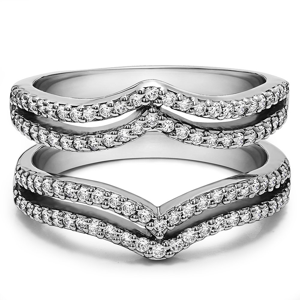 TwoBirch Platinum Man Made Diamond Double Row Chevron Ring Guard Platinum  (.5CT) G-H Color VS2-SI1