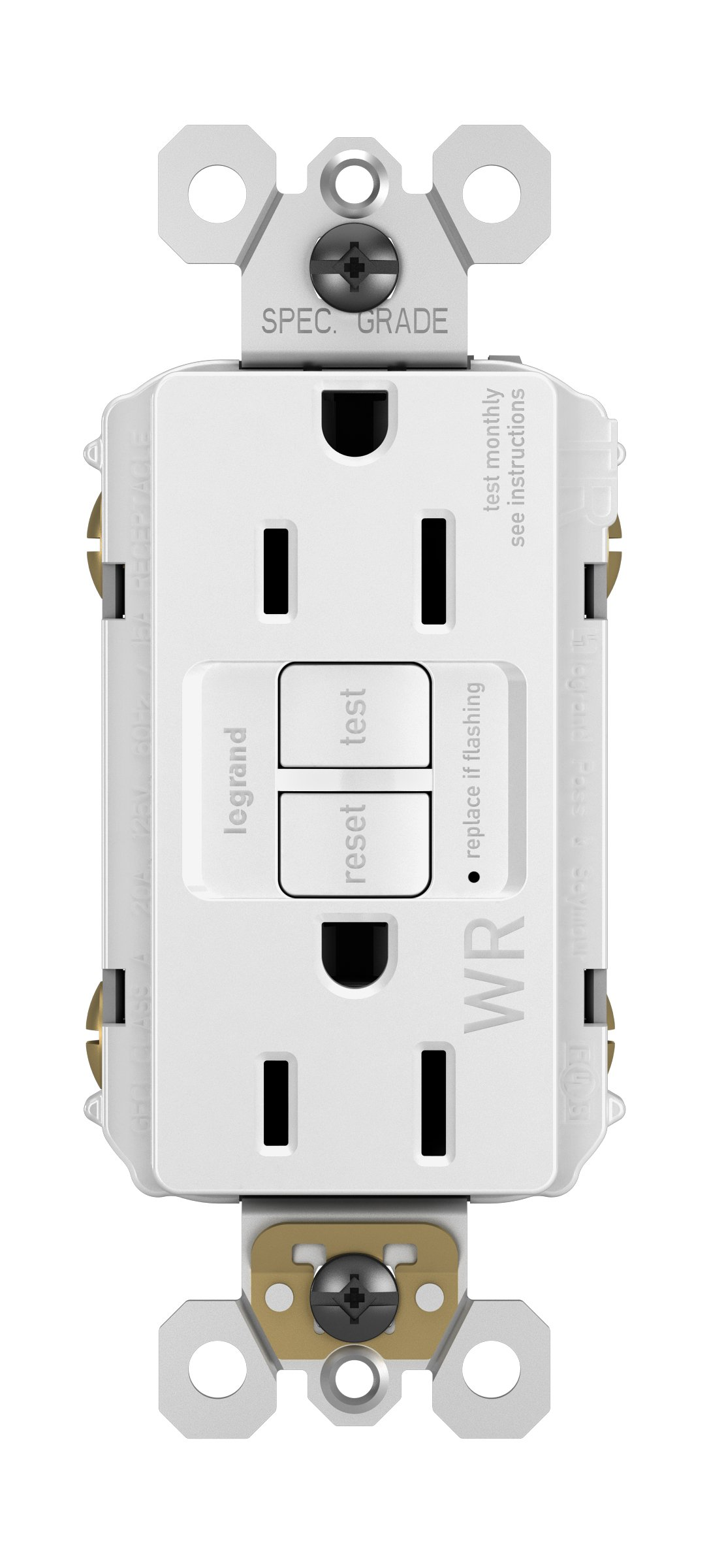 Legrand-Pass & Seymour 1597TRWRWCC4 Self-Test GFCI Receptacle Outlet with Wall Plate, 15Amp 125V, White