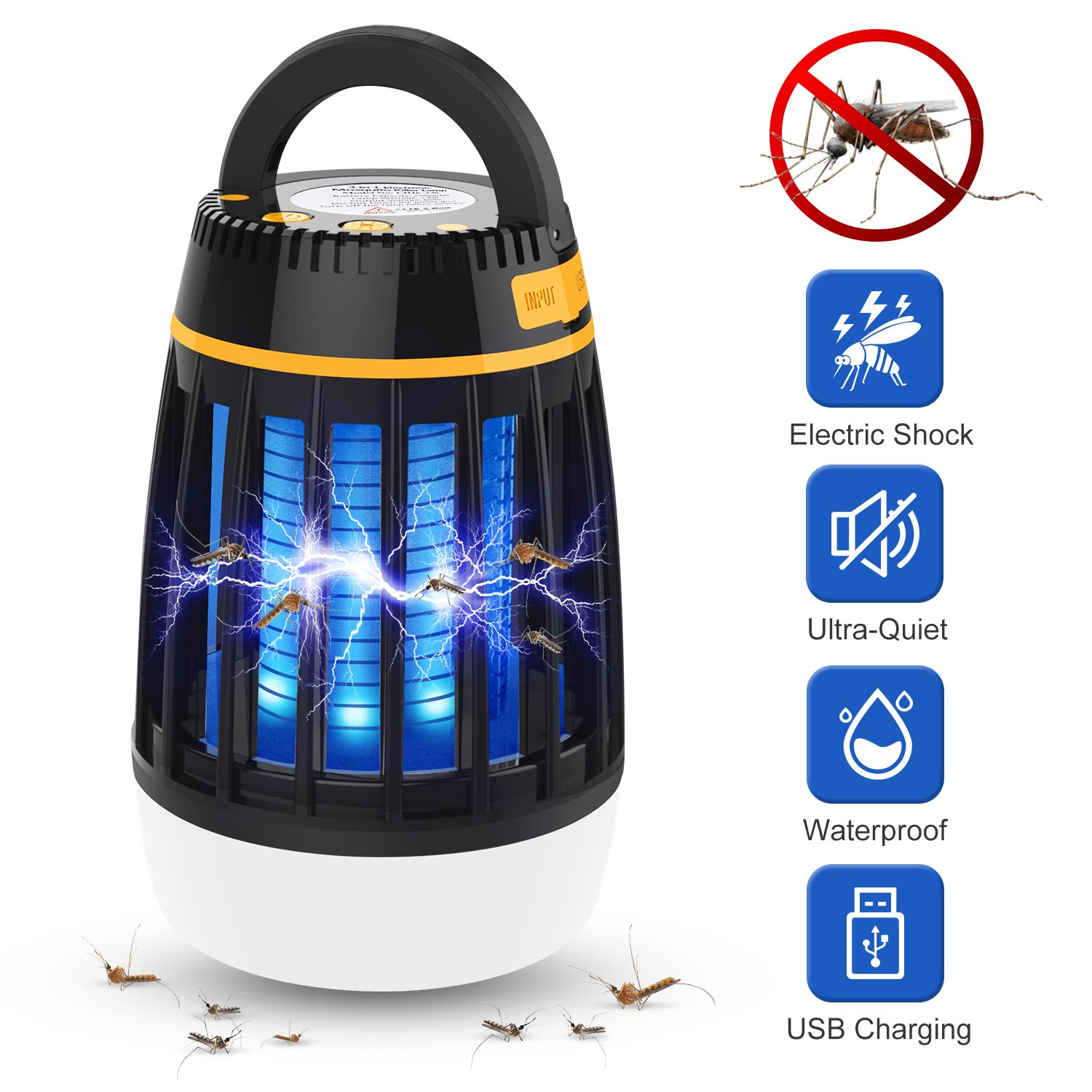 WloveTravel Bug Zapper Outdoor 3 in 1 Camping Light & Mosquito Zapper & Emergency Power Bank-Rechargeable Waterproof Camping Gear Accessories