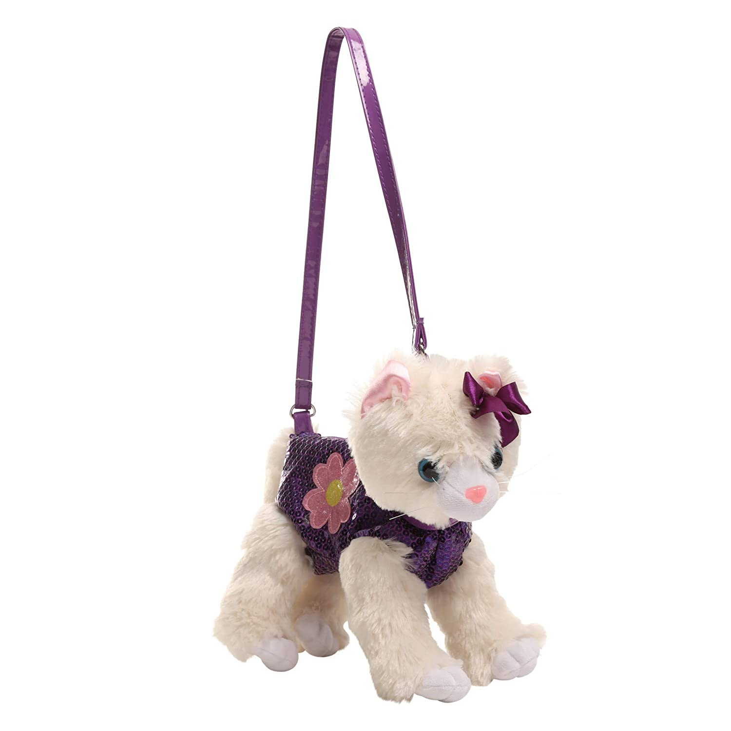 Poochie Poochie and Co Girls Plush Handbag Beige Cat with Purple Sequins and Flower Glitter Applique Cudlie Accessories PC23297