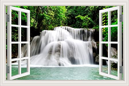 Waterfall In The Forest Green Tree 3d Wall Sticker Bedroom Decor