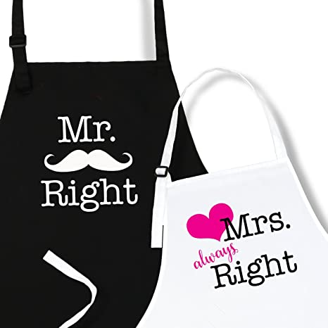 ac653393f Amazon.com: Mr. Right & Mrs. Always Right Aprons Wedding Engagement Gift  for Couples by Plum Hill: Kitchen & Dining