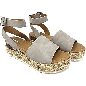 Shoe Land Legossa Womens Open Toe Ankle Strap Platform Wedge