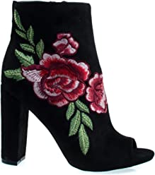 Floral Embroidered Stitching On Peep Toe Chunky Block Heel Ankle Bootie, Dress Shoes