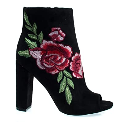 Floral Embroidered Stitching On Peep Toe Chunky Block Heel Ankle Bootie Dress Shoes