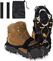 Reliancer 18 Stainless Steel Spikes Walk Traction Ice Cleats Footwear Crampons w/2 Straps All-Surface Safety Anti-Slip Snow Treads Grips Gripper for Walking Jogging Hiking Climbing on Snow and Ice