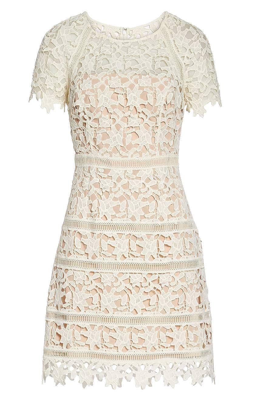 (エリザジェイ) Eliza J Women`s Crochet Overlay Dress 女性のかぎ針編みのドレスドレス(並行輸入品) B07D1V8Y9M 8P|Ivory Ivory 8P