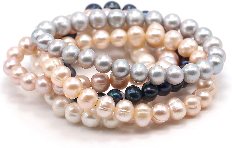 Spiral Stretch Armband 5,5 cm dehnbar blau Mode-Perle weiß