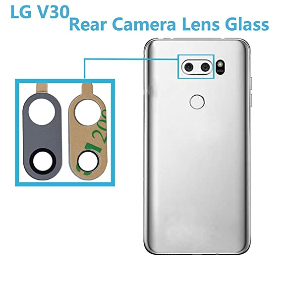 Alovexiong Silver Back Rear Camera 100% Really Glass Camera Lens Cover  Repair Parts with Adhesive Compatible for LG V30 V30 Plus V30S H930 H931  H932