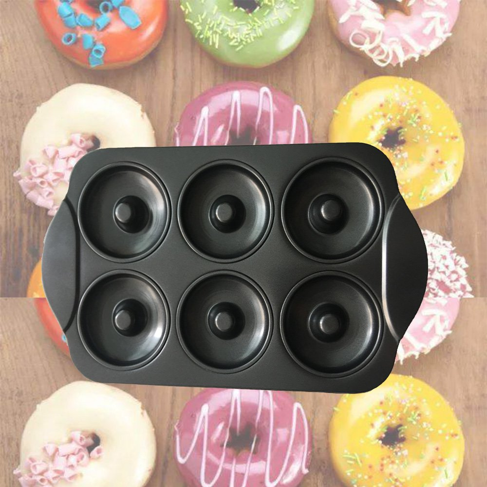CHEFHUB Carbon Steel Donut Pan Donut with handle Donut Maker Nonstick 6-Cavity Easy to Clear︳Large Cake Doughnuts Begals Baking Pan Mold Tray D=3.5''FDA Approved Non-Stick Coating ︳Perfect Shape by USGO (Image #7)