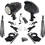 COOPIC M-200 Photo Studio Strobe Flash Light Full Kit: (2) 200W Monolight Flash (2) Light Stands (2) Softbox (1) DC-16 Wireless Trigger for Video Shooting Location and Portrait Photography