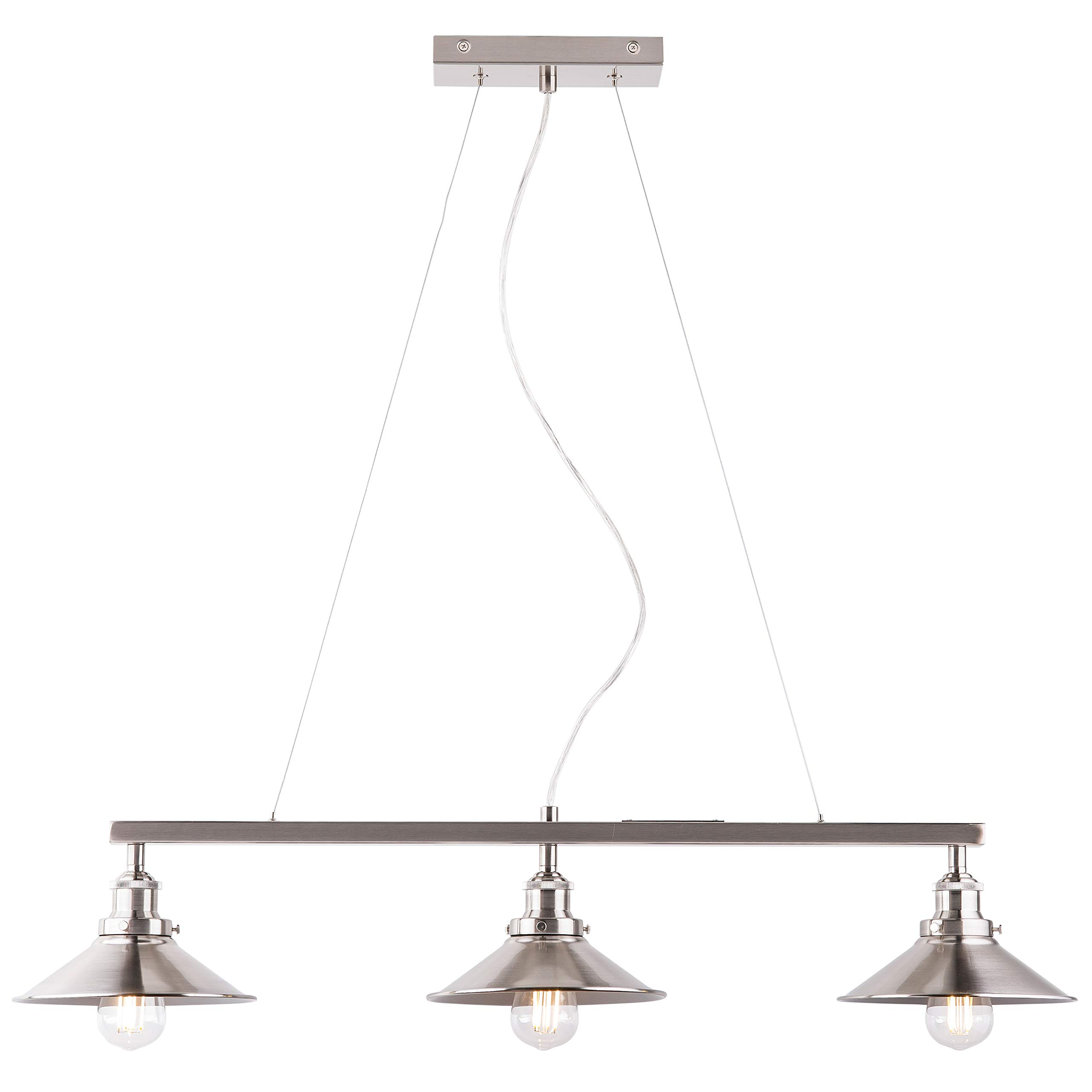 Andante 3 Light Kitchen Island Light Fixture, Brushed Nickel, Linea di Liara LL-P347-BN