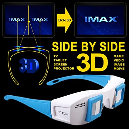 Cowcool(R) Gloriest Mate II Site by Side 3d Experience Stereoscopic 3D  Glasses For Computer TV Projector Tablet Format 3D Eyes Side By Side SBS  Movie