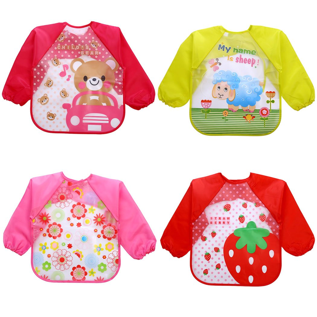 Sleeve Bibs, Aniwon 4Pcs Baby Bibs Cute Animal Food Waterproof Bibs with Sleeves for 1-5 Years Old Infant Toddler