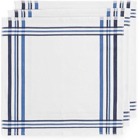 Montse Interiors, S.L. Pack Tres paños de Cocina Sarga algodón 100% Azul (Azul, 50x50): Amazon.es: Hogar