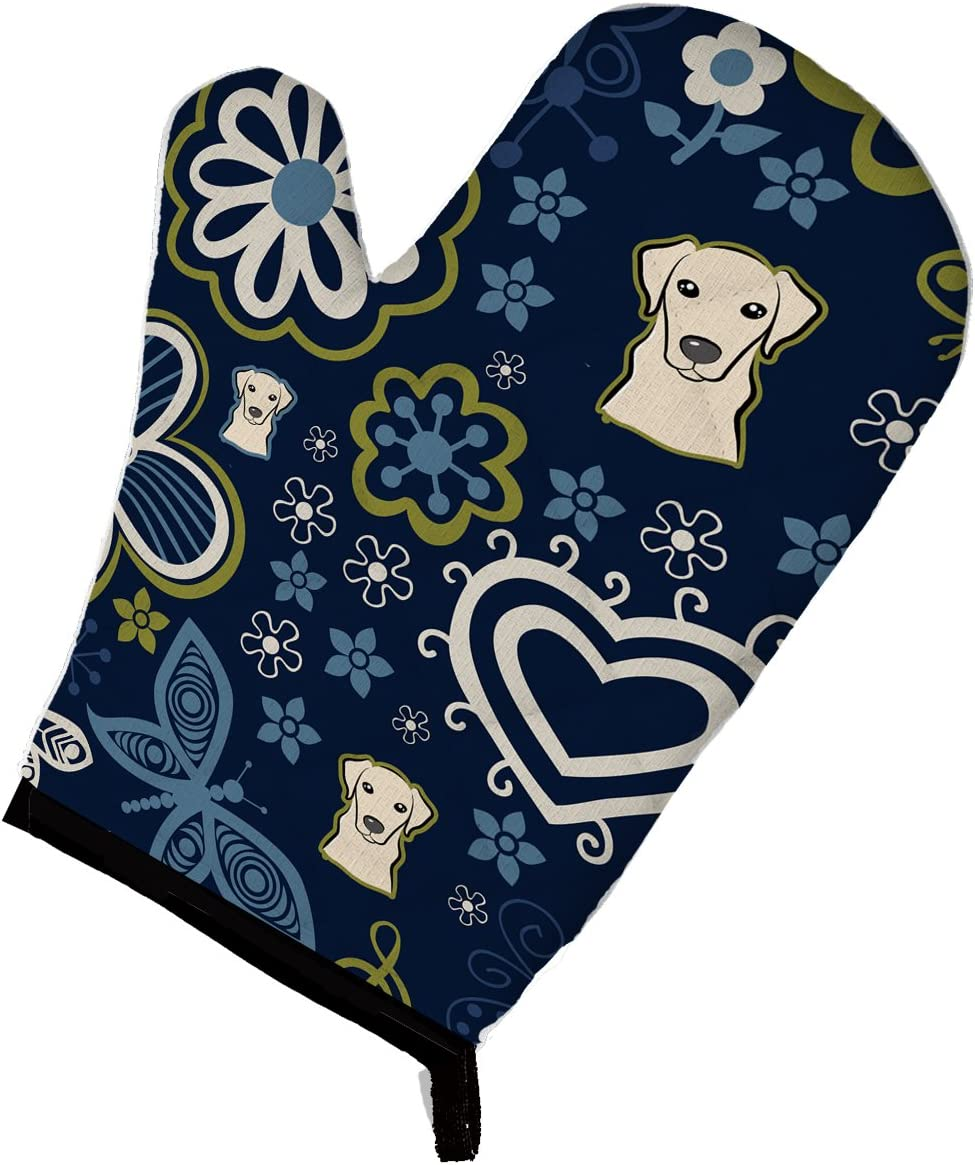 Caroline's Treasures BB5073OVMT Blue Flowers Yellow Labrador Oven Mitt, Large, multicolor