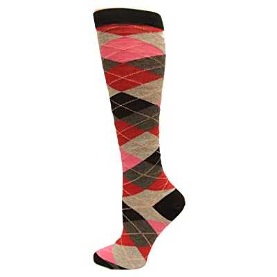 Hot Sox Women's Argyle Knee-High Socks 1 Pair, Black/Red, Women's Shoe 4-10 at Women's Clothing store