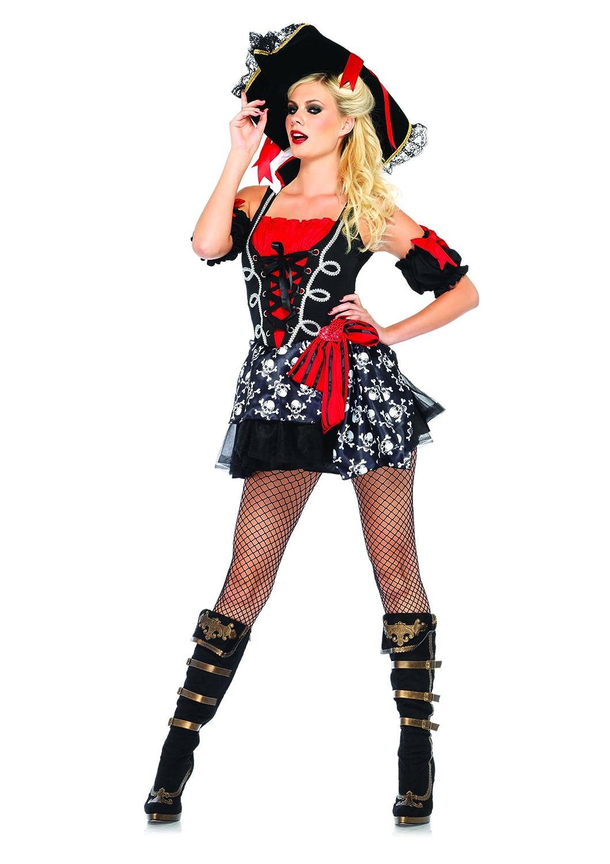 LEG AVENUE 85209 - Buccaneer Babe Kostüm Set, 2-teilig, Größe Größe Größe M/L, schwarz/rot 2f0a85
