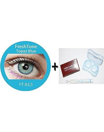 31e1553ef4aa91 FreshTone Lentilles De Contact De Couleur Topaz Bleu 3Tons Avizor Solution  Multifonctions Pour Lentilles 10ML Kit