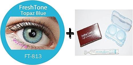 FreshTone Lentilles De Contact De Couleur Topaz Bleu 3Tons Avizor Solution  Multifonctions Pour Lentilles 10ML Kit 8a7a35fce149