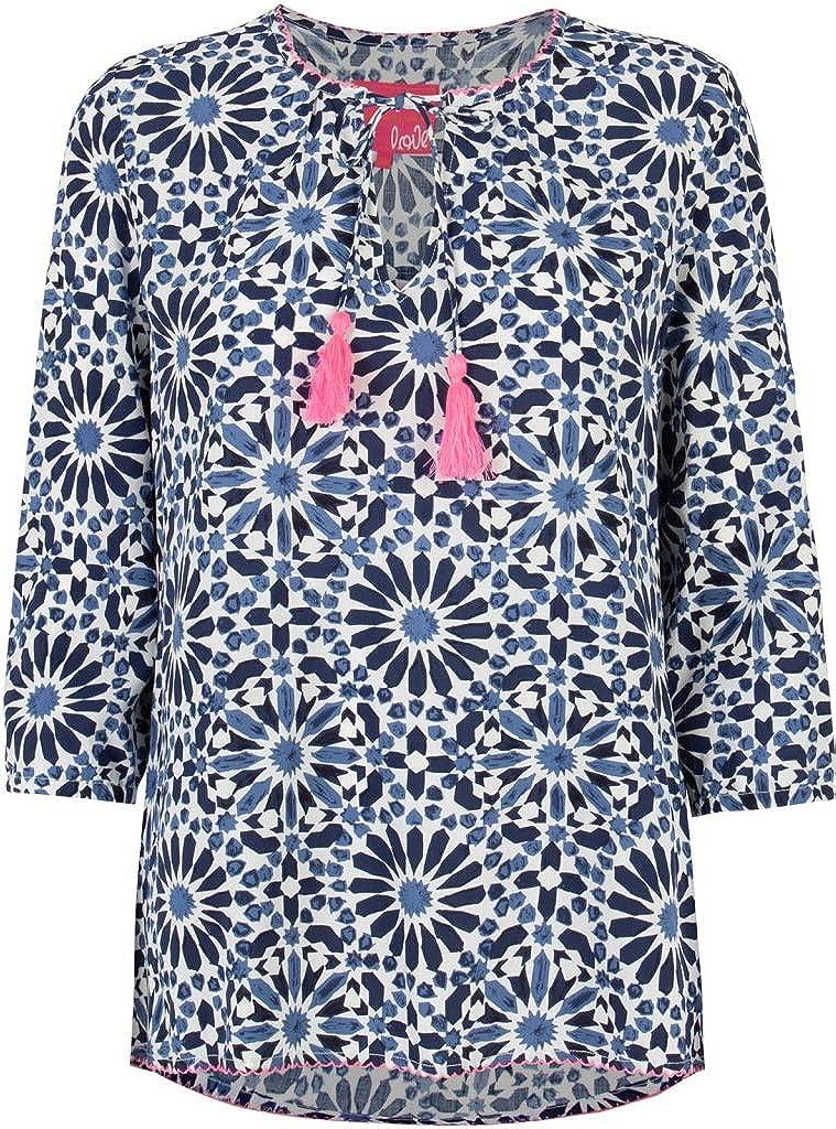 Lieblingsstück Favorite 3/4 Sleeve Blouse Shirt FILINAL Round Neck Flowers Dark Blue Blue