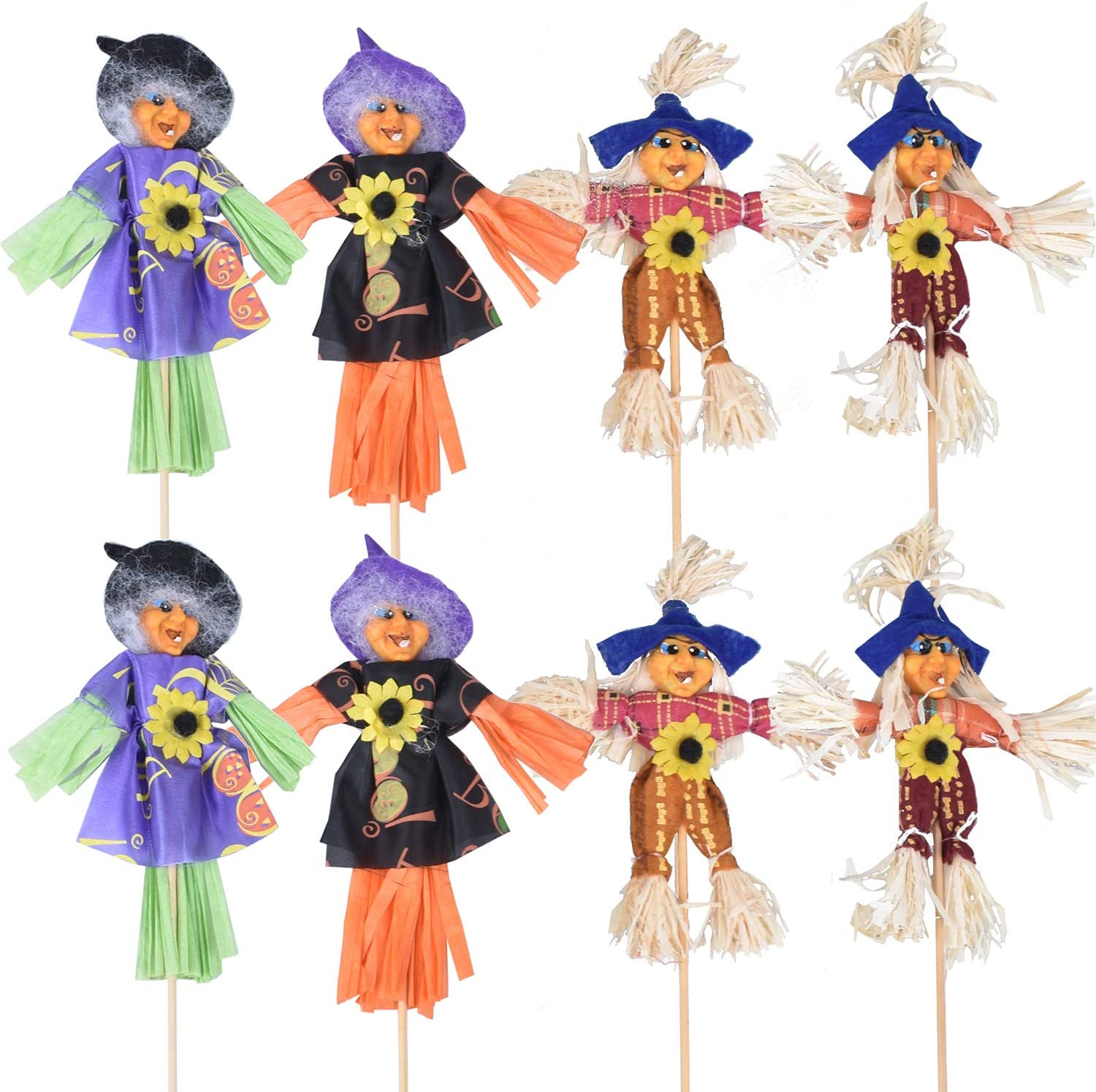 8 Pieces Halloween Fall Harvest Scarecrow Decor, Thanksgiving Scarecrow Decoration Fall Decorations for Garden Home Yard Porch Party Décor, Witch