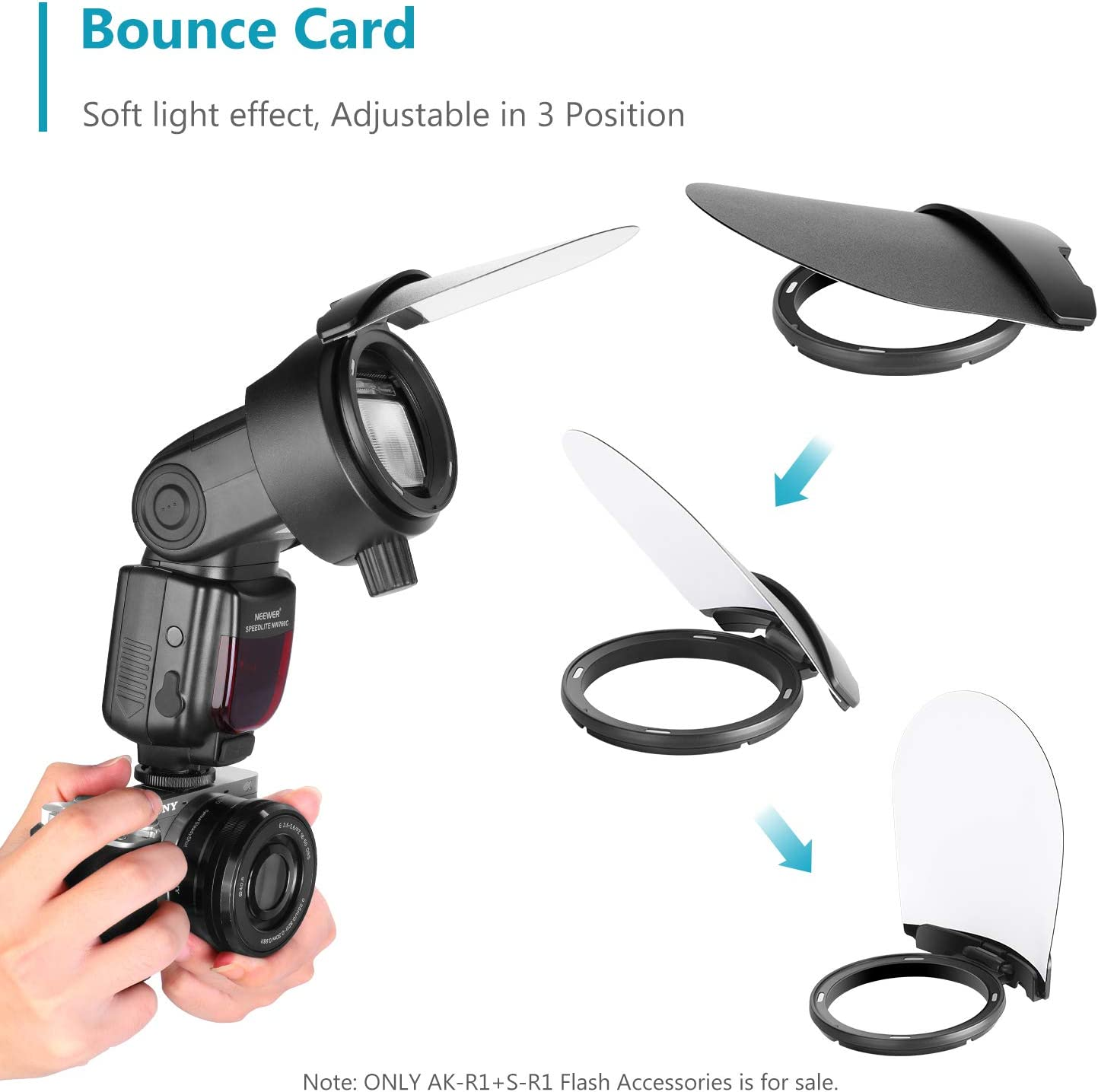 Magnetic Design Neewer AK-R1 Camera Flash Accessories Kit with Universal S-R1 Speedlite Head Adapter Compatible with Canon etc Nikon Sony and Neewer V1-S//AD200 Round Head Speedlite Flash