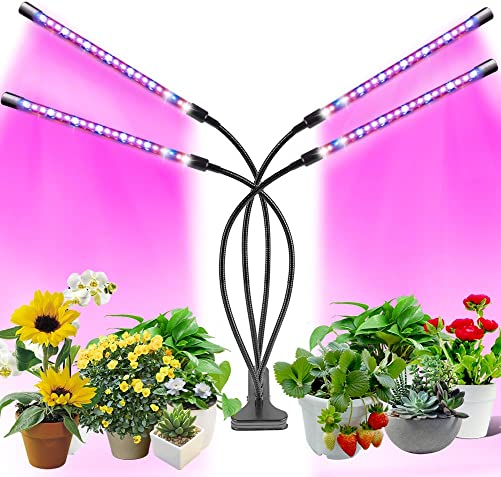 Bumlon Led Grow Plant Light for Indoor Plants Full Spectrum, with 3 9 12H Timer 9 Dimmable Levels Adjustable Growth Lights for Garden Hydroponics Succulent Flower, Indoor Plants Veg and Flower