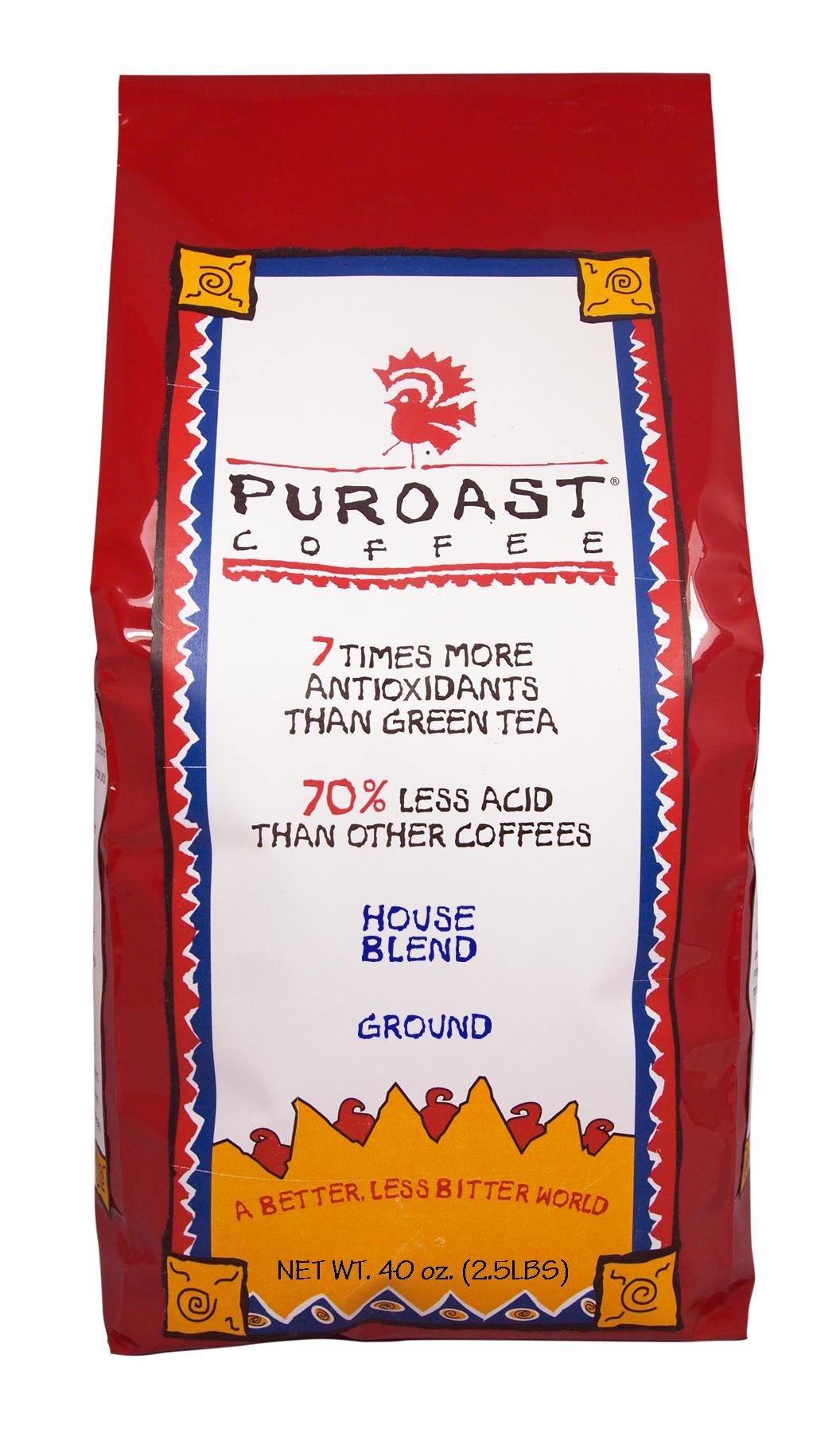 Puroast Low Acid Coffee House Blend Drip Grind, 2.5-Pound Bag by Puroast Coffee