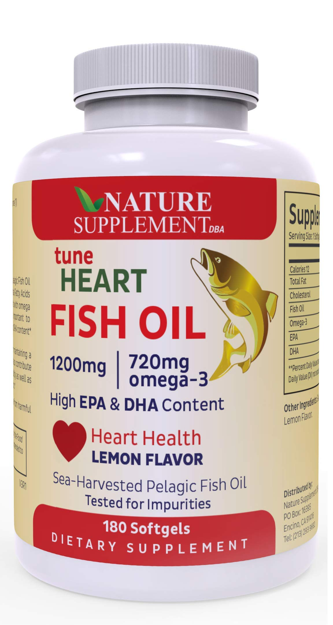 Fish Oil Omega 3 1200mg, 180 Count, Lemon Flavored, GMP-Certified, Supports Heart Health by tuneHEART