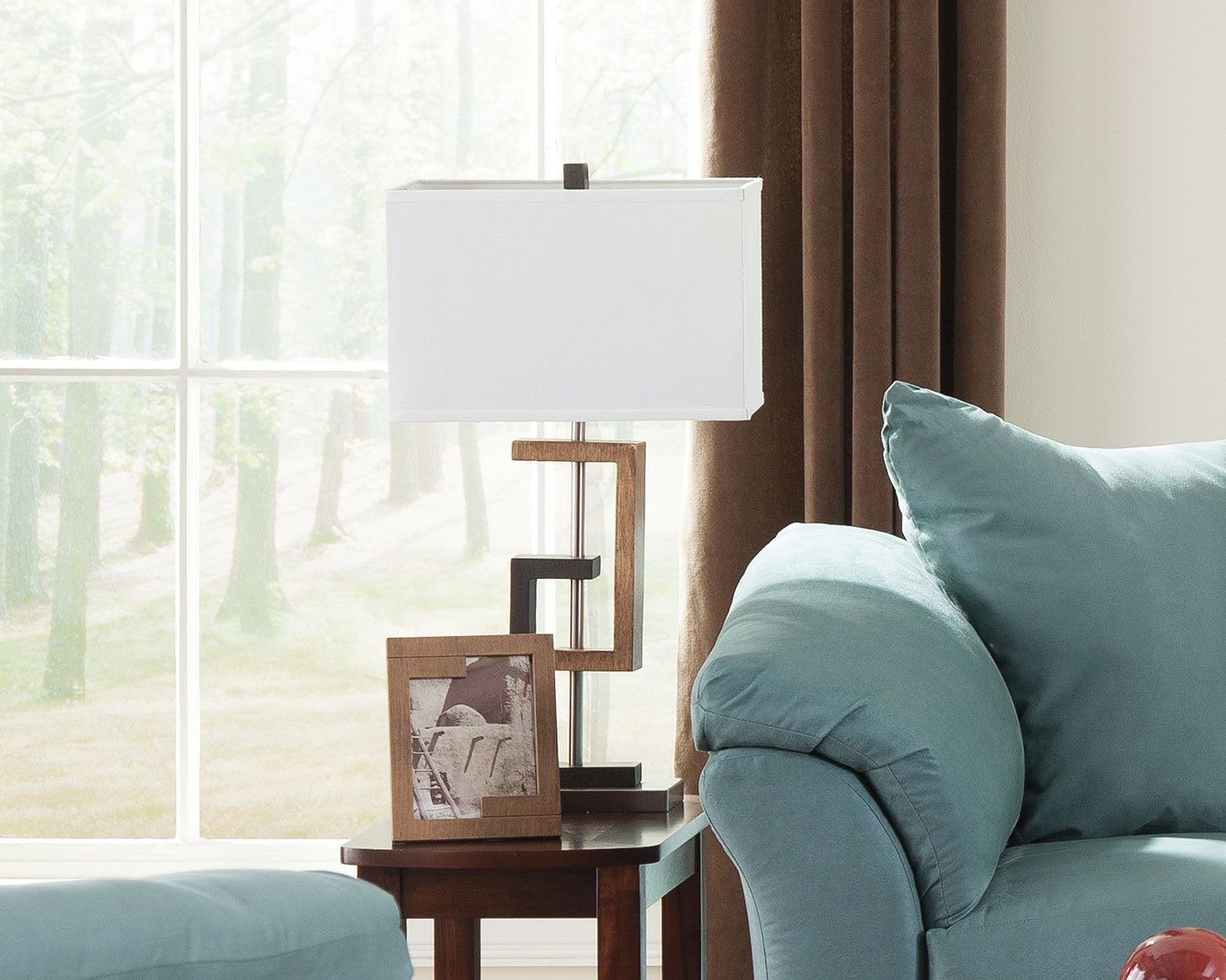 Ashley Furniture Signature Design - Syler Faux Wood Table Lamp - Contemporary Rectangular Shades - Set of 2 - Brushed Silver by Signature Design by Ashley (Image #3)