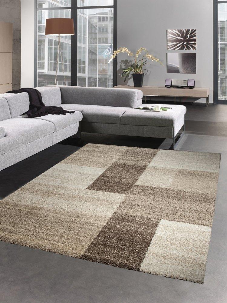 Carpetia Moderner Teppich Kurzflorteppich Wohnzimmerteppich karo braun beige Größe 120x170 cm