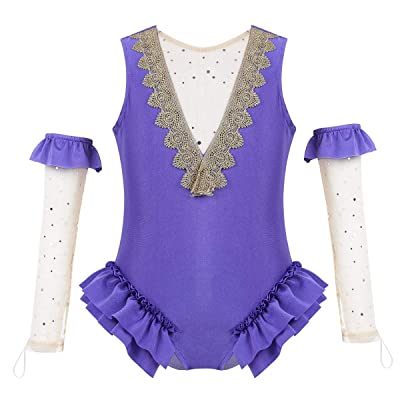 FEESHOW Kids Girls Purple Deluxe Dance Show Costume Trapeze Ruffle Leotard with Gloves Halloween Cosplay Party Outfit: Clothing