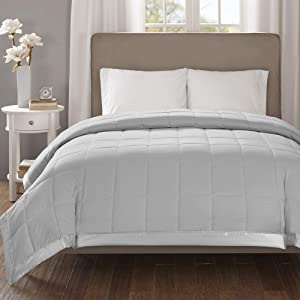 Madison Park Down Alternative Blanket Hypoallergenic 3M Scotchgard Stain Resistant Bedroom Bedding, Oversized Full/Queen, Cambria Grey