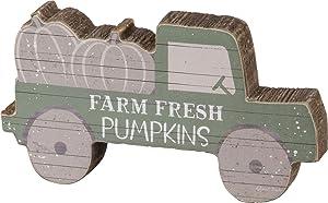 Primitives by Kathy Chunky Shelf Sitter, 6 x 3.25-Inch, Truck - Farm Fresh Pumpkins