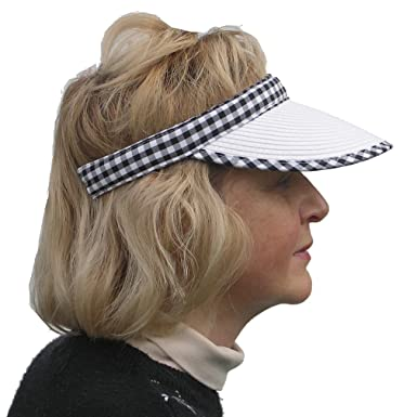 Ladies Golf   Tennis White Clip On Straw Style Sun Visor with Black Gingham  Trim  Amazon.co.uk  Clothing f1909935057