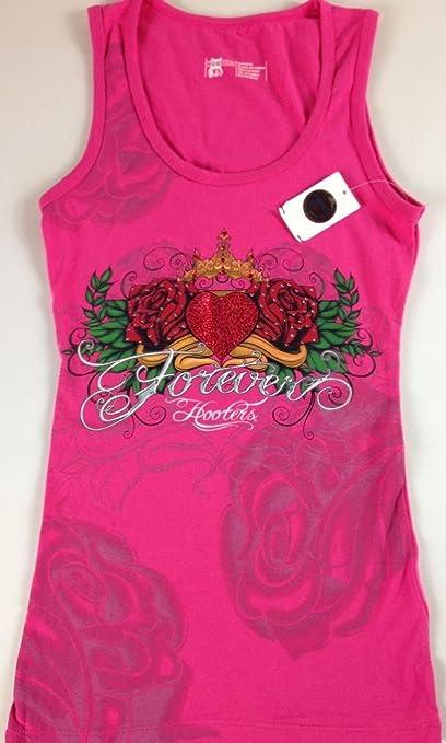 abc60e409e8921 Hooters Girl Shirt Tank Top Big Boobs Stretch Heart Tattoo Bling Stones  Rose Uniform (Small