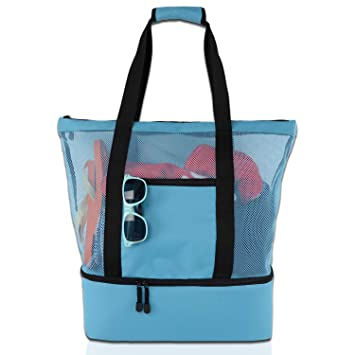 edd179ced932 Mesh Beach Tote Bag with Insulated Cooler Compartment, Extra Large Pool  Picnic Cooler Bag with Zipper Closure, Top Handle Beach Handbag for ...