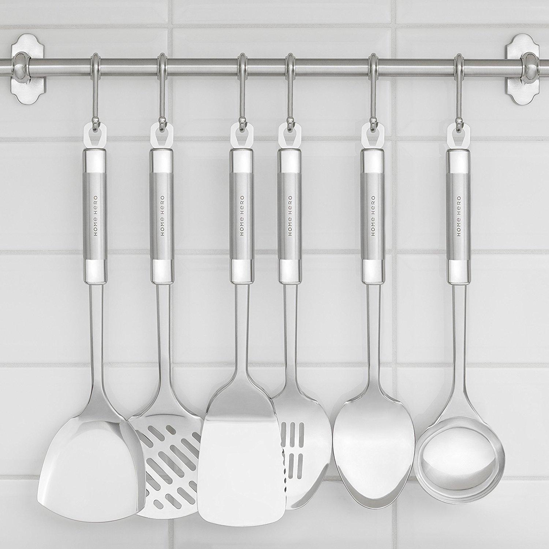 Stainless Steel Kitchen Utensil Set - 29 Cooking Utensils - Nonstick Kitchen Utensils Cookware Set with Spatula - Best Kitchen Gadgets Kitchen Tool Set Gift by HomeHero by HomeHero (Image #5)